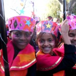 Engaging 150 school children in Wembley to create mobiles and headdresses for Sitare Festival at the LDO. Nov 2013.